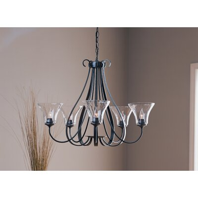 Hubbardton Forge 5 Light Chandelier with Water Glass Shade