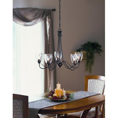 Hubbardton Forge 5 Light Trellis Chandelier with Water Glass Shade