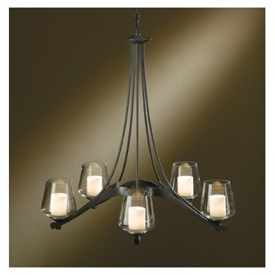 Hubbardton Forge 5 Light Ribbon Chandelier with 5 Arms