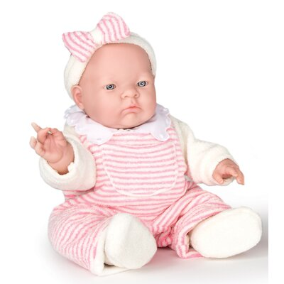 "JC Toys Lily - 14"" Real Girl Vinyl Doll with Pink Terry and Fleece Outfit"