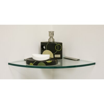 "Spancraft Glass Glass Shower Shelf Kit with 4"" Rectangle Clamps Quarter Round Glass"