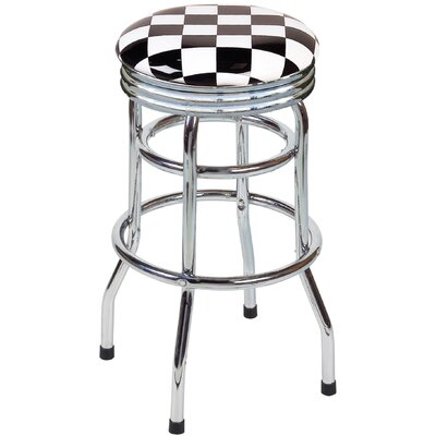 "On The Edge Marketing Checker Flag 30.5"" Backless Chrome Swivel Barstool"