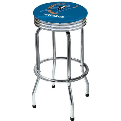 "On The Edge Marketing Solid Red 30.5"" Backless Chrome Swivel Barstool"