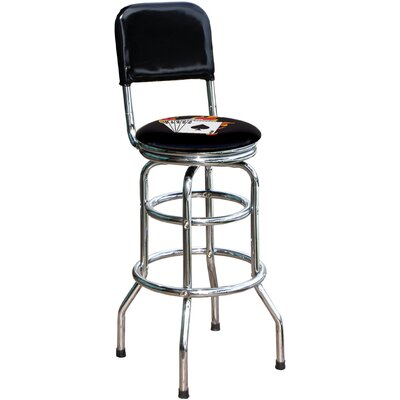 "On The Edge Marketing Poker 30.5"" Swivel Bar Stool with Cushion"