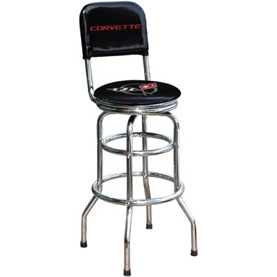 "On The Edge Marketing Chevrolet Corvette C5 30.5"" Chrome Swivel Barstool"