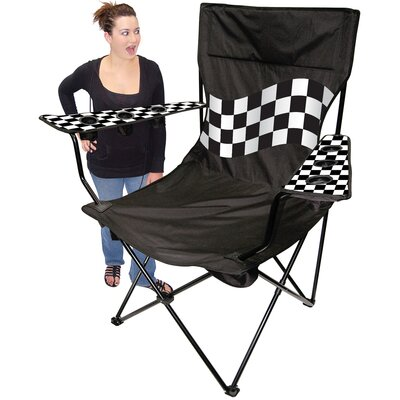 On The Edge Marketing Outdoor King Pin Folding Chair in Black / White