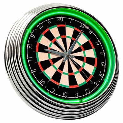 "<strong>On The Edge Marketing</strong> Dart Board 14.75"" Neon Wall Clock"