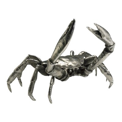 Large Crab Figurine in Silver Leaf