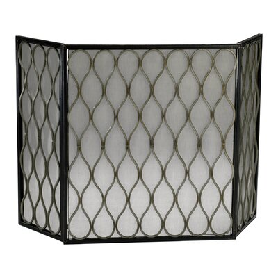 Cyan Design Gold Mesh 3 Panel Iron Fire Screen