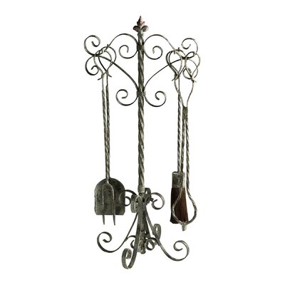 Cyan Design Coastal 4 Piece Iron Fireplace Tool Set