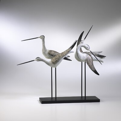 Sandpiper Quartet Figurine in Weathered White and Gray