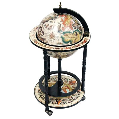 "Merske LLC Italian Style 13"" Floor Globe Bar White in Old World"