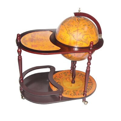 "Merske LLC Italian Style 16.5"" Floor Globe Bar Trolley in Old World"