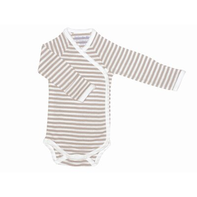 Under the Nile Nature's Nursery Long Sleeve Side Snap Babybody Baby Clothing in Tan Stripes