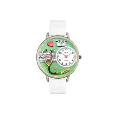 Unisex Nurse Green White Skin Leather and Silver Tone Watch