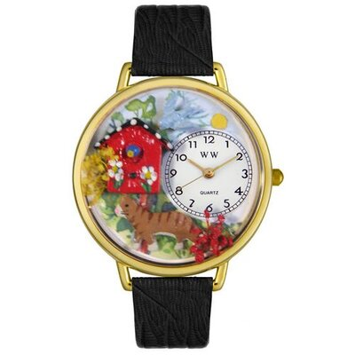 Whimsical Watches Unisex Birdhouse Cat Black Skin Leather and Goldtone Watch in Gold