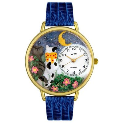 Unisex Cats Night Out Royal Blue Leather and Goldtone Watch in Gold