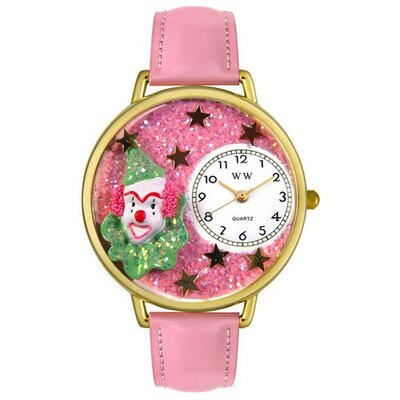 Unisex Pink Glitter Clown Pink Leather and Goldtone Watch in Gold