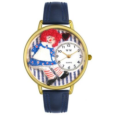 Unisex Raggedy Ann Navy Blue Leather and Goldtone Watch in Gold
