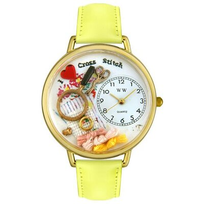 Whimsical Watches Unisex Cross Stitch Yellow Leather and Goldtone Watch in Gold