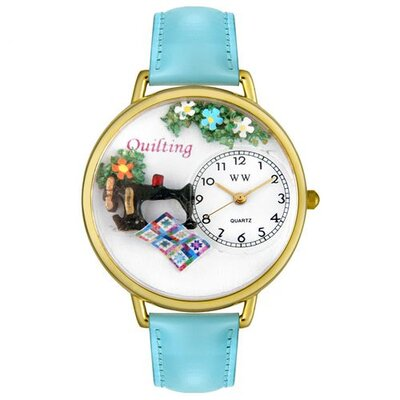Whimsical Watches Unisex Quilting Baby Blue Leather and Goldtone Watch in Gold