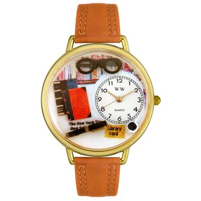 Whimsical Watches Unisex Book Lover Tan Leather and Goldtone Watch in Gold in Gold