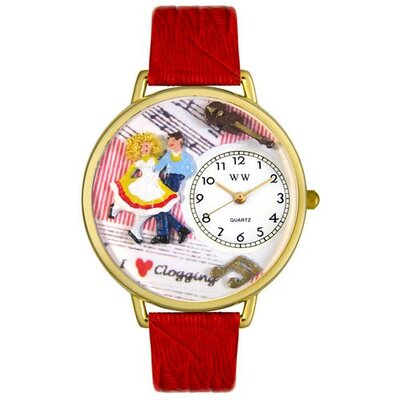 Whimsical Watches Unisex Clogging Red Leather and Goldtone Watch in Gold