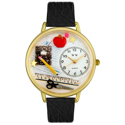 Unisex Teacher Black Skin Leather and Goldtone Watch in Gold