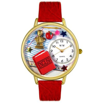 Whimsical Watches Unisex English Teacher Red Leather and Goldtone Watch in Gold