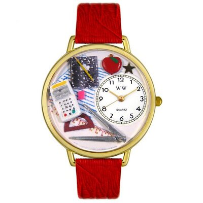Whimsical Watches Unisex Math Teacher Red Leather and Goldtone Watch in Gold