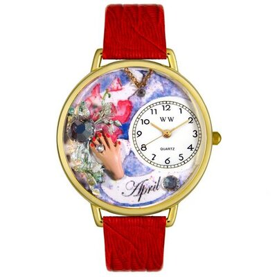 Whimsical Watches Unisex April Red Leather and Goldtone Watch in Gold