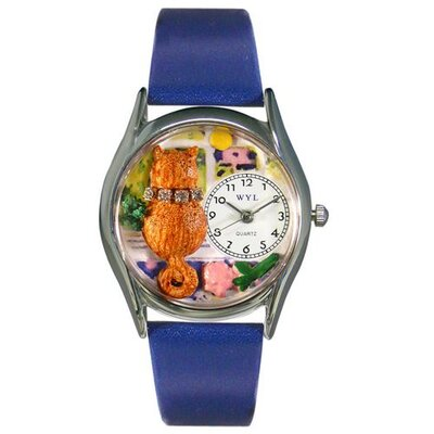 Women's Aristo Cat Royal Blue Leather and Silvertone Watch in Silver