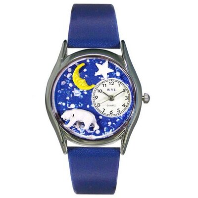 "Whimsical Watches Women""s Polar Bear Royal Blue Leather and Silvertone Watch in Silver"