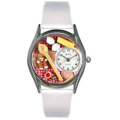 "Whimsical Watches Women""s Baking White Leather and Silvertone Watch in Silver"