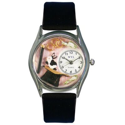 "Whimsical Watches Women""s Magic Black Leather and Silvertone Watch in Silver"