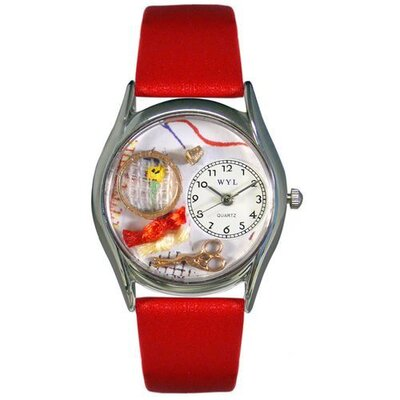 "Whimsical Watches Women""s Needlepoint Red Leather and Silvertone Watch in Silver"