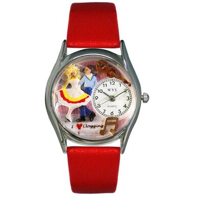 "Whimsical Watches Women""s Clogging Red Leather and Silvertone Watch in Silver"
