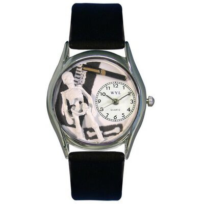 "Whimsical Watches Women""s Orthopedics Black Leather and Silvertone Watch in Silver"