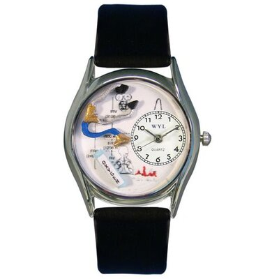 Whimsical Watches Women's Respiratory Therapist Black Leather and Silvertone Watch in Silver
