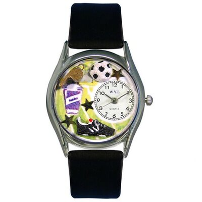 Whimsical Watches Women's Soccer Black Leather and Silvertone Watch in Silver
