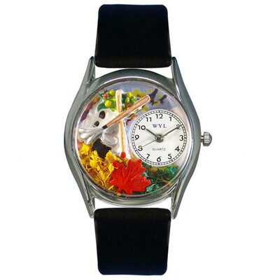 Women's Autumn Leaves Black Leather and Silvertone Watch in Silver