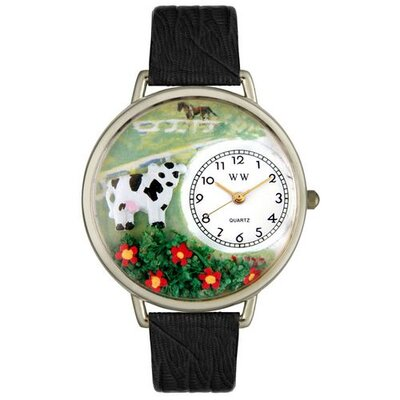 Whimsical Watches Unisex Cow Black Skin Leather and Silvertone Watch in Silver