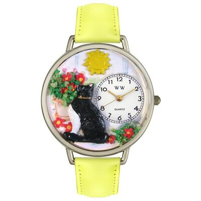 Unisex Basking Cat Yellow Leather and Silvertone Watch in Silver