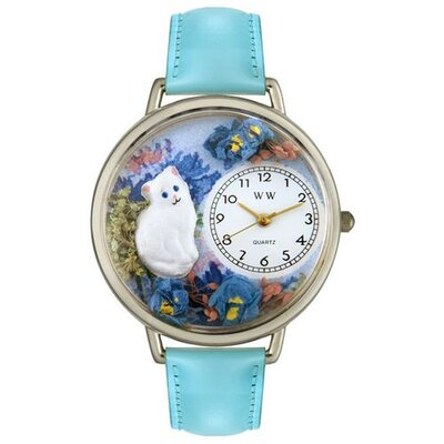 Unisex White Cat Baby Blue Leather and Silvertone Watch in Silver