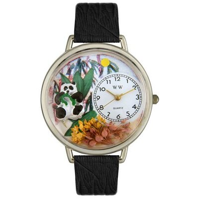 Unisex Panda Bear Black Skin Leather and Silvertone Watch in Silver