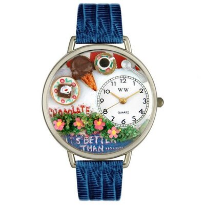 Unisex Chocolate Lover Royal Blue Leather and Silvertone Watch in Silver