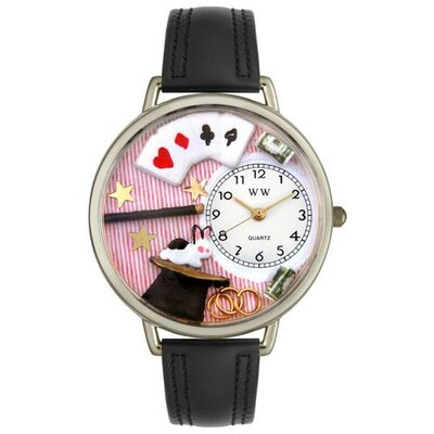 Unisex Magic Black Padded Leather and Silvertone Watch in Silver