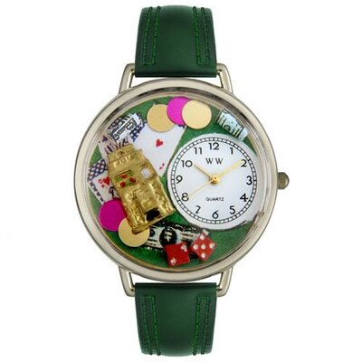 Unisex Casino Hunter Green Leather and Silvertone Watch in Silver