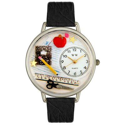 Unisex Teacher Black Skin Leather and Silvertone Watch in Silver