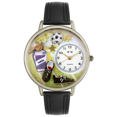 Unisex Soccer Black Padded Leather and Silvertone Watch in Silver